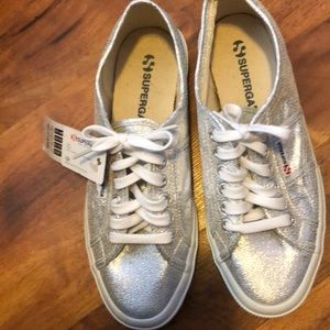 Size 10 Silver Sneaker by Superga NWT